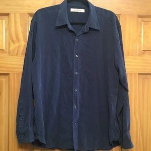 Tommy Bahama Silk Navy Blue Shirt - Size XL